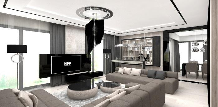 projekty wnętrz nowoczesnych domów
